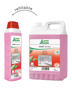 Zure sanitairreiniger op basis van citroenzuur. Respecteert de biologische cycli en draagt zorg voor de gezondheid en veiligheid van het schoonmaakpersoneel.