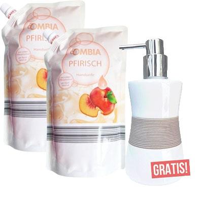 Ombia Navuldeal Perzik gratis dispenser